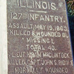 Memorial at Lyonsville Cemetery to 127th Illinois Regiment
