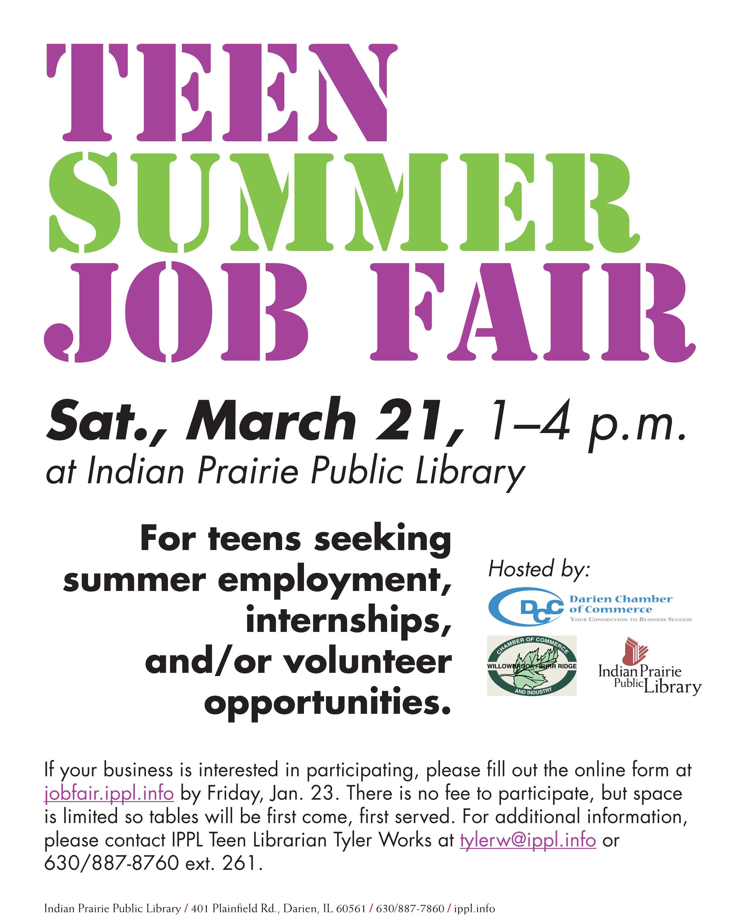 Teen summer job opportunities