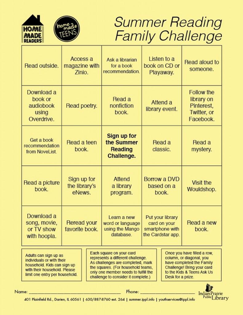 full family challenge bingo card