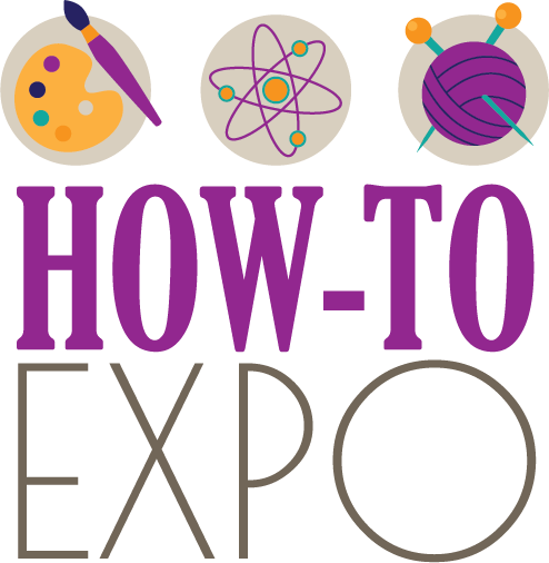 How-To Expo logo with symbols for art, science, and crafts