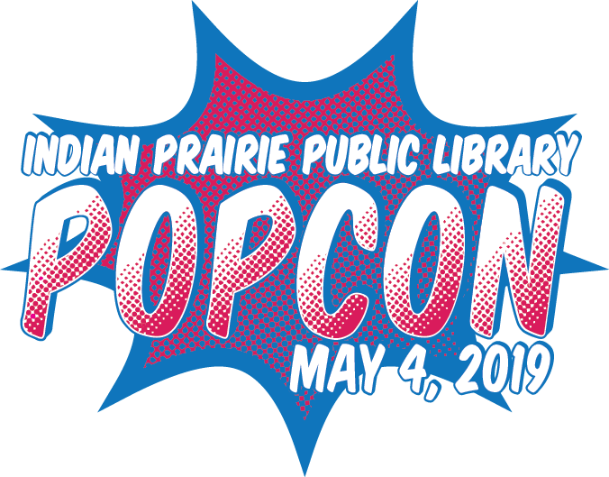 A pink and blue comic-style starburst. Indian Prairie Public Library PopCon. May 4, 2019.